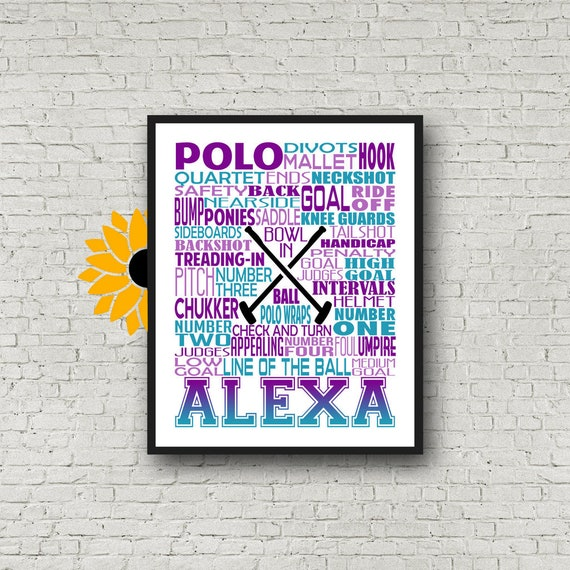 Polo Typography, Personalized Polo Poster, Polo Team Gift, Polo Gift, Custom Polo, Gift for Polo Player, Gift for Polo Team