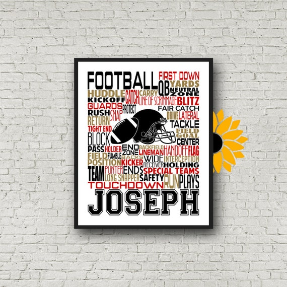 Gift for Football Player, Football Typography, Football Poster, Football Team Gift, Gift for Football Player, Personalized Football Print