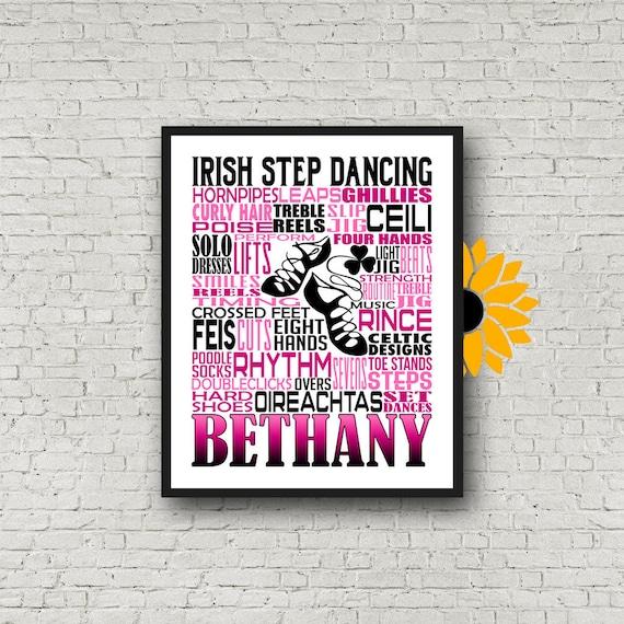 Irish Step Dancing Typography, Personalized Irish Step Dance Poster, Irish Ghillie Dance Print, Gift for Dancer, Dance Team Gift