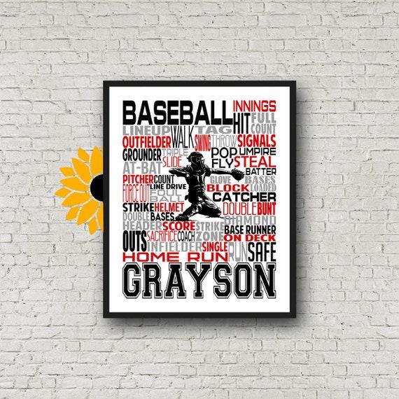 BASEBALL Gift, Baseball Art, Baseball Gift Ideas, Pitcher, Catcher, Batter, Typography Personalized, Baseball Team Gift, Word Art Custom