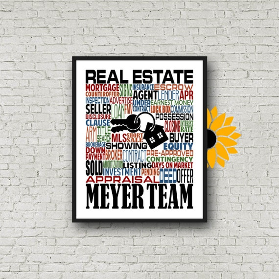 Gift for Real Estate Agent, Personalized Real Estate Agent Poster, Real Estate Agent Thank you Gift, Real Estate Office Typography