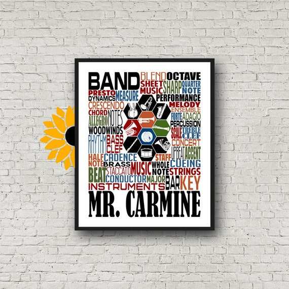 Gift for Band Teacher, Personalized Band Teacher Poster, Band Typography, Band Teacher Gift, Gift for Music Teacher, Band Instructor