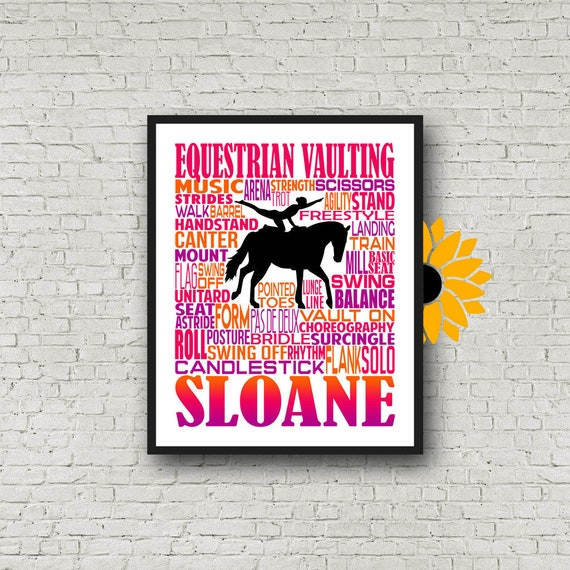 Equestrian Vaulting Typography, Personalized Equestrian Vaulting Poster, Equestrian Vaulter Gift, Gift For Equestrian Vaulting