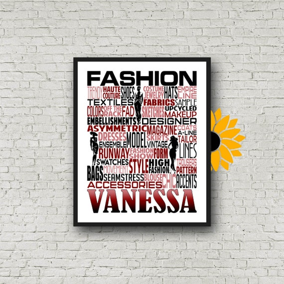 Personalized Fashion Designer Poster, Fashion Design Poster, Fashion Designer Typography, Gift for Fashion Designer, Upcycle Designer Gift