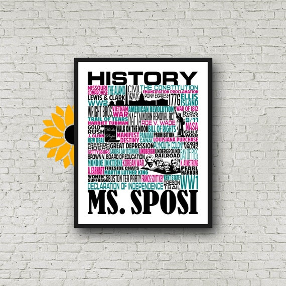 Personalized History Teacher Poster, U.S. History Typography, History Teacher Gift, Gift for History Teacher, Teacher Appreciation Week