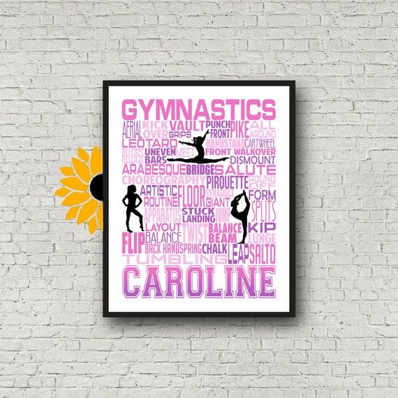 Gift for Gymnast, Personalized Gymnastics Poster Typography, Gymnast Gift, Gymnastic Team Gift, Gymnastic Art, Gymnast Print,
