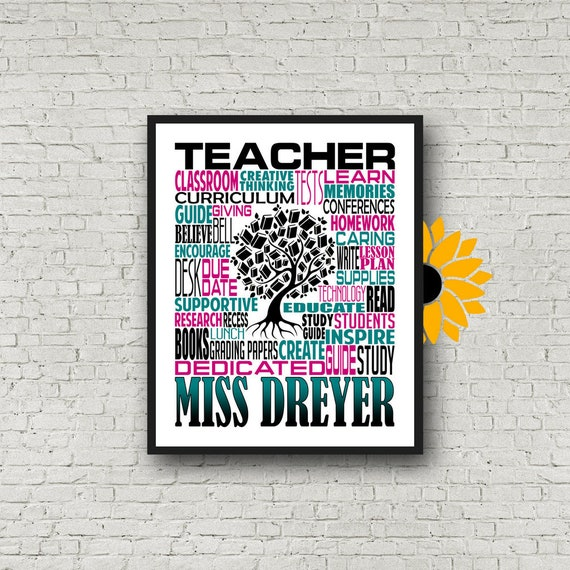 Teacher Appreciation, Personalized Teacher Poster, Teacher Inspiration Gift, Educator Gift, Gift for Teachers, Teacher Print, Teacher Art