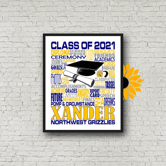 Personalized Graduation Print, Graduation Party Poster, College Graduate, Class of 2021, High School Grad Poster, Graduation Typography