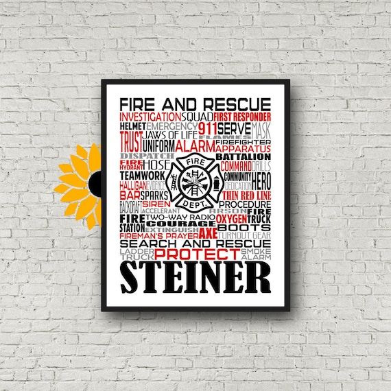 Gift for Firefighter, Personalized Firefighter Poster, Thin Red Line Print, Fire and Rescue Gift, Fireman Gift, First Responder Gift