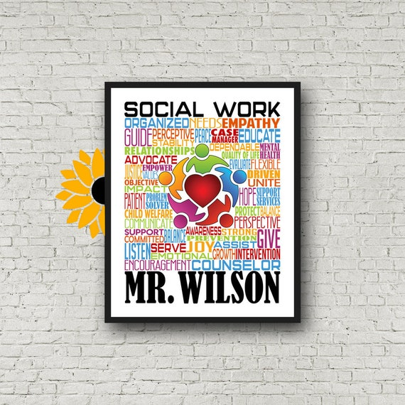 Personalized Social Worker Poster, Social Work Typography, Gift for Social Worker, Gift for Counselor, Counselor Poster Counselor Typography