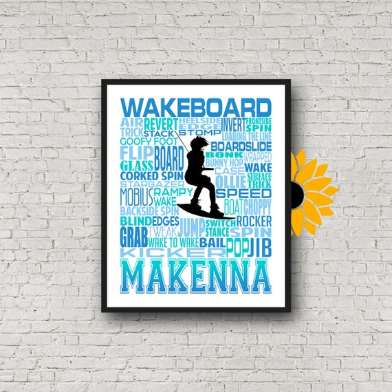 Personalized Wakeboarding Poster, Wakeboarder Poster, Gift for Wakeboarding, Water Skiing Gift, Water Skier Typography, Water Skier Poster