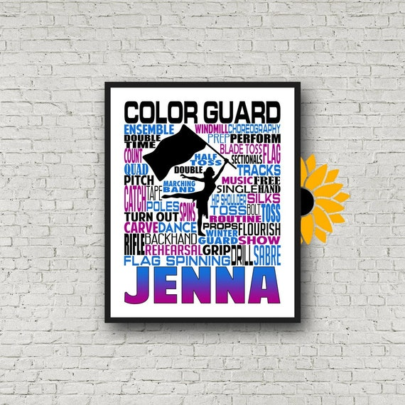 Personalized Color Guard Poster, Color Guard Typography, Gift for Color Guard, Color Guard Team Gift, Flag Spinner Poster, Flag Spinners