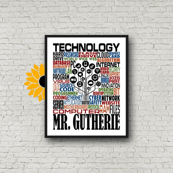Technology Teacher Typography, Personalized Tech Teacher Poster, Tech Teacher Gift, Gift for Technology Teacher, IT Gift, Gift for Coder