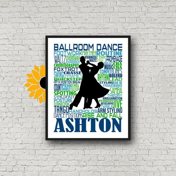 Ballroom Dance Typography, Personalized Ballroom Dance Poster, Gift for Ballroom Dancer, Dancing Print, Ballroom Dance Gift