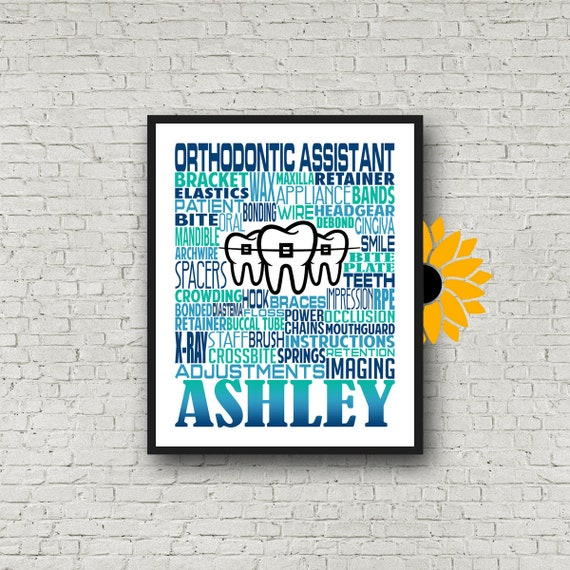 Gift for Orthodontic Assistant, Personalized Orthodontic Assistant Poster, Orthodontic Assistant Typography, Orthodontist Gift