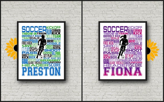 Personalized Soccer Poster, Soccer Typography, Soccer Gift, Gift for Soccer Player, Soccer Art, Soccer Print, Coach Gift, Soccer Team Gift