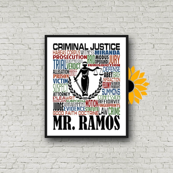 Gift for Criminal Justice Teacher, Personalized Criminal Justice Poster, Criminal Justice Typography, Criminal Justice Gift
