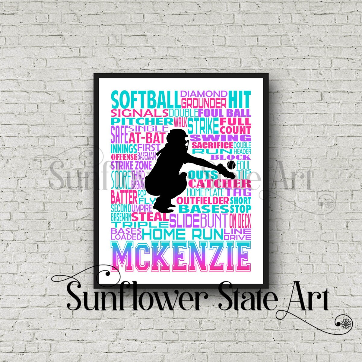 Personalized Softball Poster Typography, Softball Gift Ideas, Gift