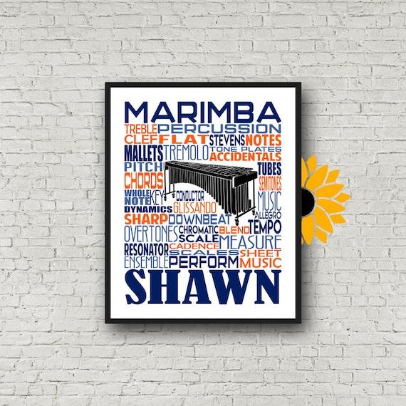 Personalized Marimba Poster, Marimba Typography, Gift for Marimba Player, Percussion Art, Percussion Print, School Band Gift