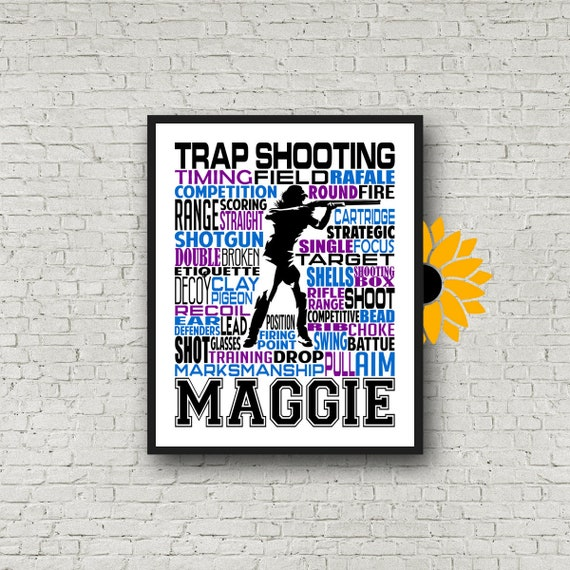 Gift for Trap Shooter, Personalized Trap Shooting Poster, Trap Shooter Gift Ideas, Skeet Shooting Poster, Trap Shooter Typography