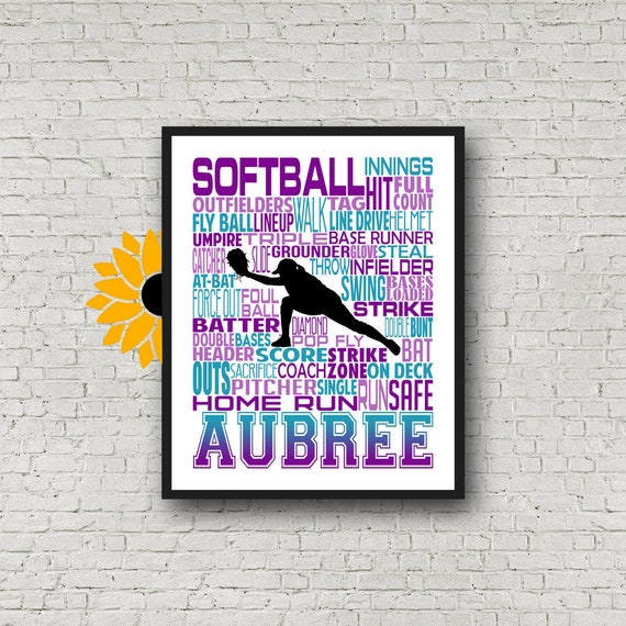 Personalized Softball Gift, Softball Poster, Softball Team Gift, Softball Coach, Softball Custom, Softball Print, Typography, Catcher