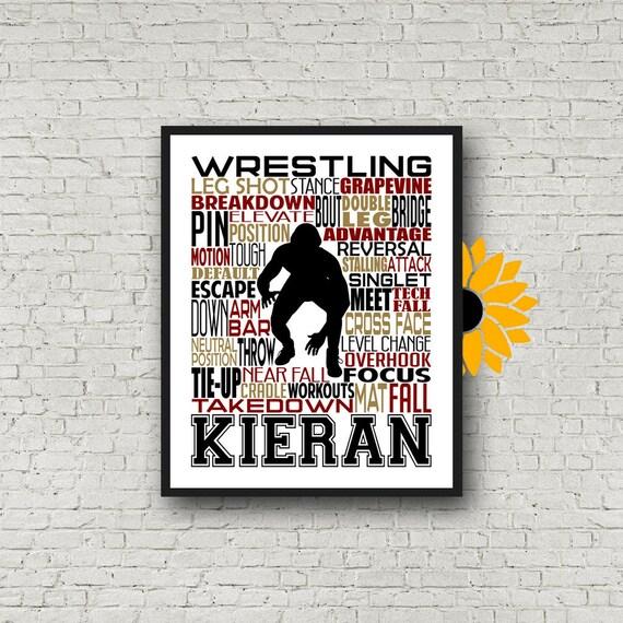 Gift for Wrestler, Wrestling Gift, Wrestler Art, Wrestling Typography, Personalized Wrestler Poster, Wrestling Team Gift