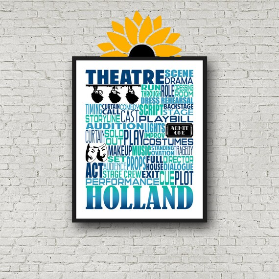 Musical Theater Poster, Theatre Poster, Gift for Actress, Gift for Actor.  Acting Gift, Broadway Theatre, Personalized Acting Poster