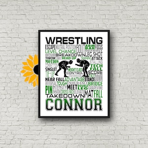 Personalized Wrestling Print Banquet Gift Senior Night Team Colors Pencil Personalization Wrestling Gift Senior gift Wrestler Gift
