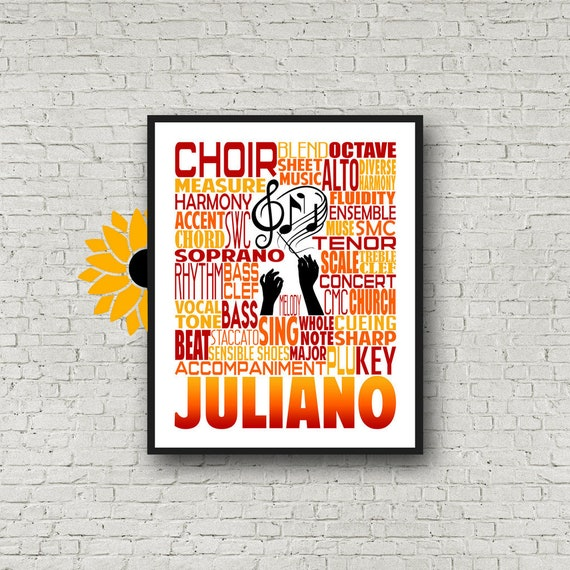 Choir Typography, Choir Teacher Gift, Gift for Music Teacher, Choir Director, Conductor Gift, Chorale Gift, Personalized Choir Poster,
