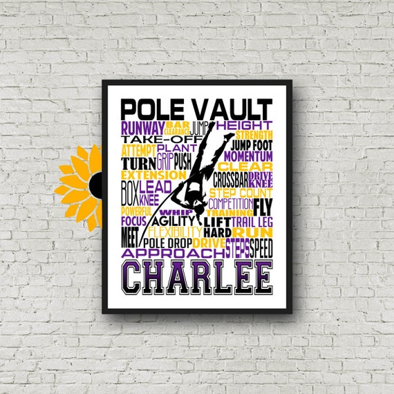 Personalized Pole Vaulting Gift, Pole Vault Poster, Pole Vaulting Team, Pole Vaulting Typography, Track and Field, Track Team Gift