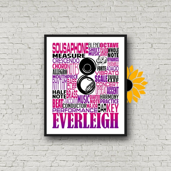 Personalized Sousaphone Poster, Sousaphone Typography, Gift for Sousaphone Player, Band Teacher Gift, Band Typography, Tuba Poster