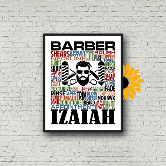 Gift for Barber, Barbershop Typography, Personalized Barber Poster, Barber Gift, Barbershop Gift, Hair Stylist Gift, Barber School Gift