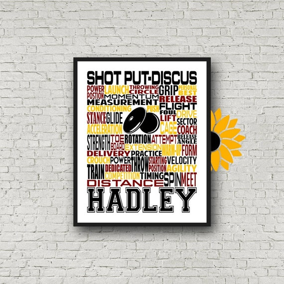 Shot Put & Discus Thrower, Personalized Shot Put Thrower Poster, Shot Put Typography, Discus Typography, Track and Field Thrower