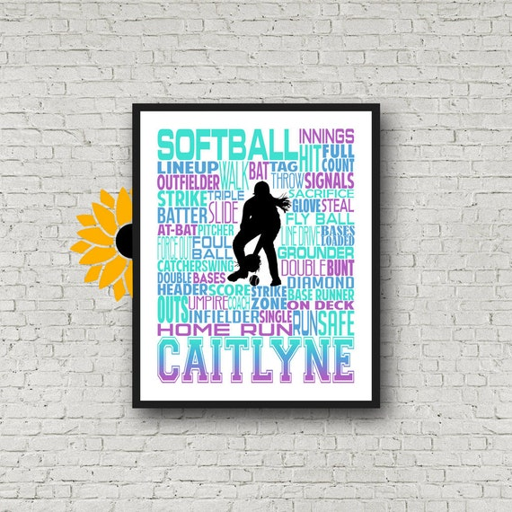 Softball Poster Typography, Softball Gift Ideas, Gift For Softball Players, Softball Wall Art, Softball Team Gift, Personalized Softball