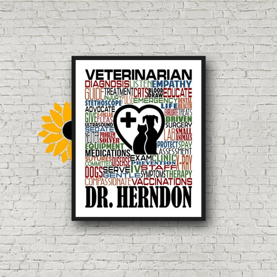 Vet Gift, Personalized Veterinarian Poster, Veterinarian Typography, Gift for Veterinarian, Vet Typography, Gift for Veterinarian