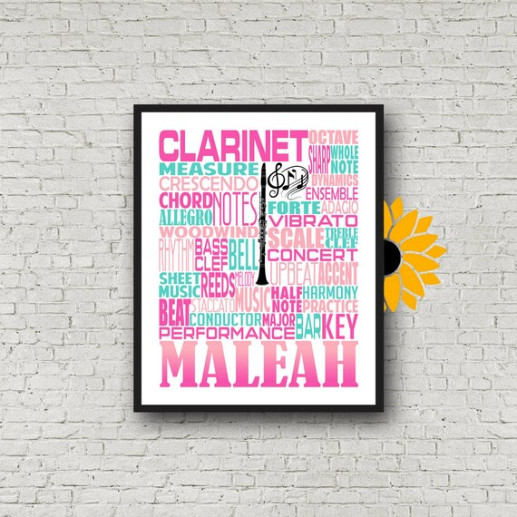 Clarinet Typography, Personalized Clarinet Poster, Clarinet Player Gift, Clarinet Art, Clarinet Gift, Custom Clarinet, Gift Clarinet Player
