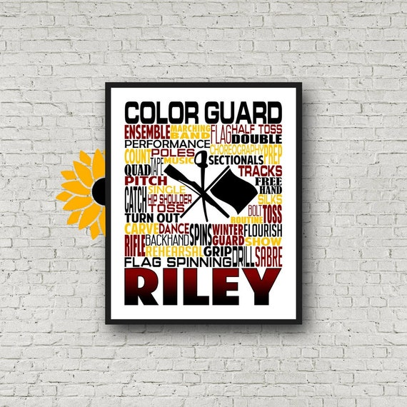 Color Guard Typography, Personalized Color Guard Poster, Gift for Color Guard, Color Guard Team Gift, Winter Guard Poster, Winter Guard Gift