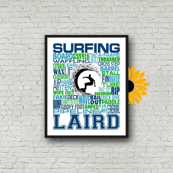 Surfer Typography, Personalized Surfing Poster, Personalized Surfer Poster, Gift for Surfer, Surfing Typography, Surfer Gift