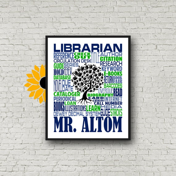 Librarian Typography, Personalized Librarian Poster, Book Lover Gift, Gift for Librarian, Library Gift, Gift for Reader, Librarian Gift
