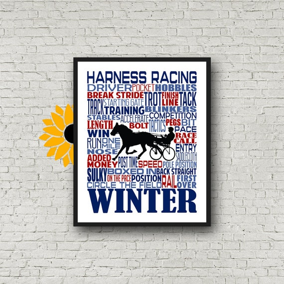 Harness Racing Typography, Personalized Harness Racing Poster, Horse Racing Poster, Sulky Racer, Gift for Harness Racer, Trotting Race