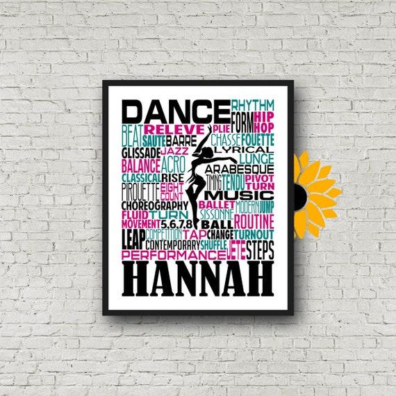 Personalized Dance Poster, Gift for Dancer, Dancing Art, Dancing Print, Dancer Typography,  Dance Team Gift, Custom Dancer, Custom Dance