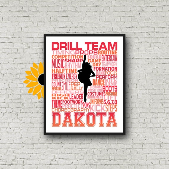 Drill Team Typography, Personalized Drill Team Poster, Gift for Drill Team, Dancing Art, Dancing Print, Drill Team Gift, Custom Dancer