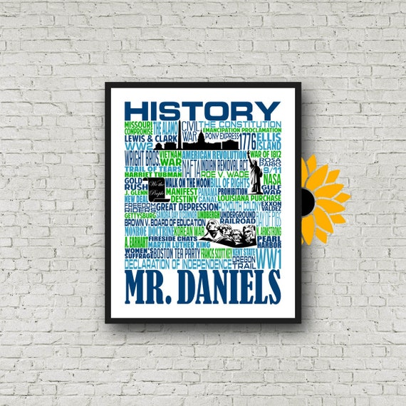 U.S. History Typography, Personalized History Teacher Poster, History Teacher Gift, Gift for History Teacher, American History Teacher Gift