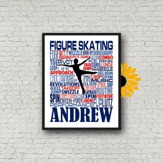 Personalized Ice Skating Typography, Ice Skating Poster, Figure Skater Gift, Ice Skater, Ice Skating, Gift for Ice Skater, Gift for Skater