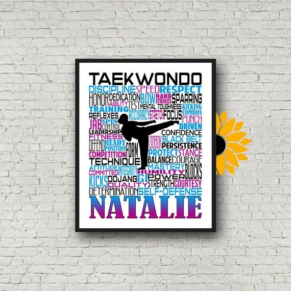 Taekwondo Typography, Personalized Taekwondo Poster, Taekwondo Gift, Gift for Taekwondo, Taekwondo Art, Taekwondo Print, Karate Team Gift