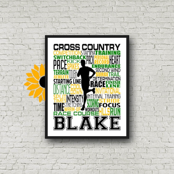 Cross Country Gift, Cross Country Typography, Personalized Cross Country Poster, Gift For Runners, Running Gift, Cross Country Team Gift