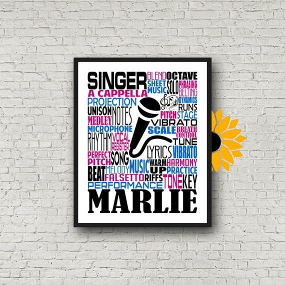 Singer Typography, Personalized Singing Poster, Choir Teacher Gift, Gift for Music Teacher, Choir Director, Conductor Gift, Chorale Gift