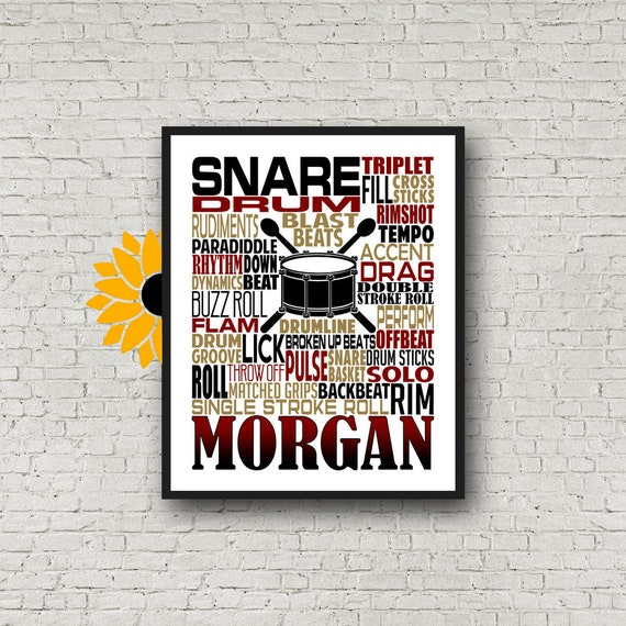 Personalized Snare Drummer Poster, Drummer Typography, Gift for Drummers, Percussion Art, Snare Drum Art, School Band Gift, Marching Band