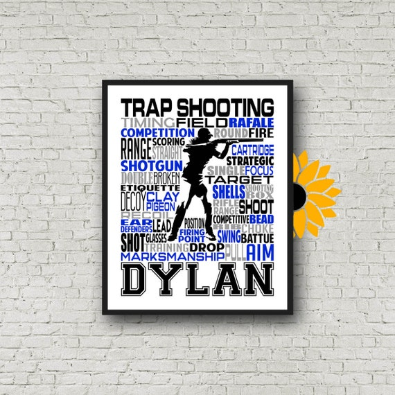 Personalized Trap Shooting Poster, Gift for Trap Shooter, Trap Shooter Gift Ideas, Skeet Shooting Poster, Trap Shooter Typography