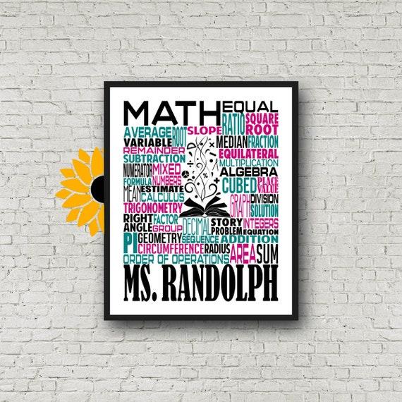 Gift for Math Teacher, Math Typography, Personalized Math Teacher Poster, Math Teacher Gift, Algebra Teacher, Calculus Teacher, Trigonometry